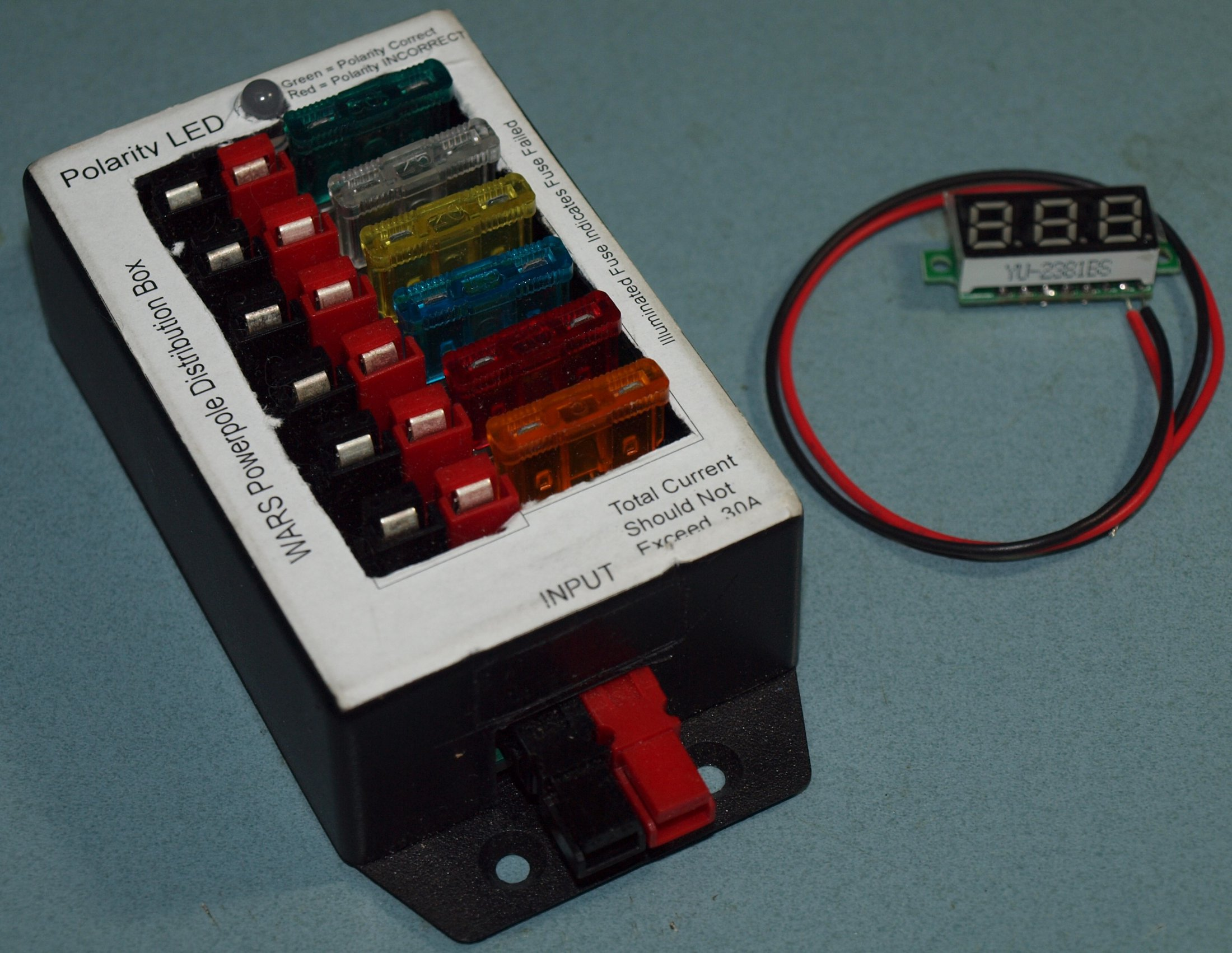 Powerpole Kit assembled with voltmeter part