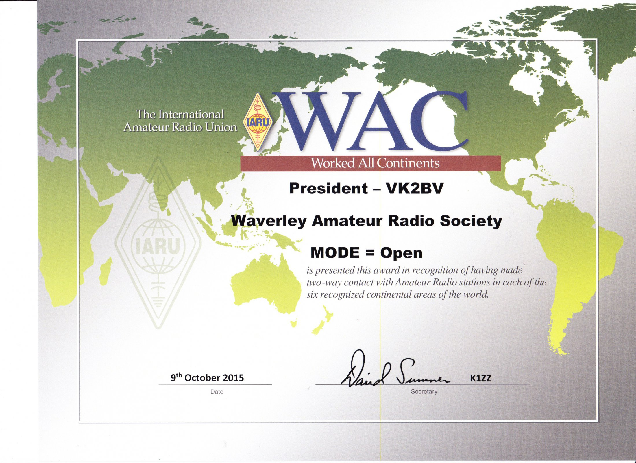 IARU Worked All Continents Award - Open