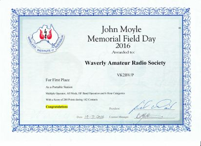 2016 JM Field Day Certificate