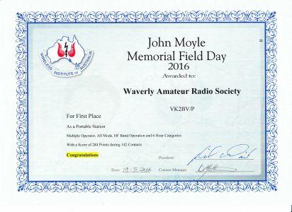 2016 JM Field Day Certificate