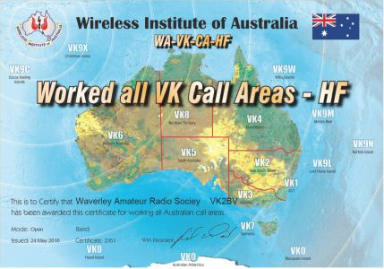 Worked All VK Call Areas - HF -Open