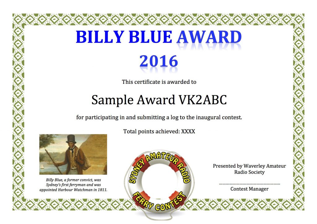 Billy Blue Certificate